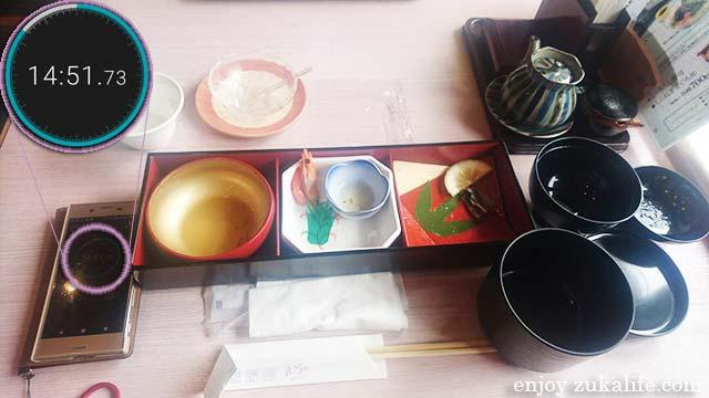 松花堂「歌姫」食べ終わるのにかかった時間