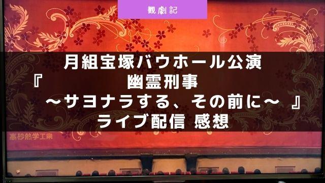 宝塚月組『幽霊刑事~サヨナラする、その前に~』ライブ配信の感想!